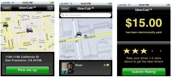 Uber's earlier app screens